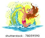 child splashing in the sea | Shutterstock .eps vector #78059590