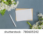 mockup white greeting card and... | Shutterstock . vector #780605242