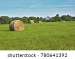 Hay Bale In Texas Field With...