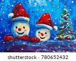 2 merry snowman in red caps...   Shutterstock . vector #780652432