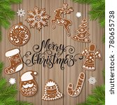 set of christmas gingerbread... | Shutterstock .eps vector #780655738