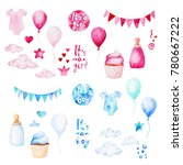 watercolor baby shower set. its ... | Shutterstock . vector #780667222