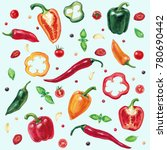 pattern with vegetables ... | Shutterstock . vector #780690442