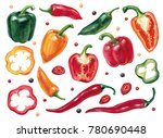 set with vegetables  peppers... | Shutterstock . vector #780690448