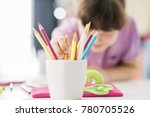 young girl drawing with colored ...   Shutterstock . vector #780705526