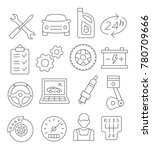 gray auto service line icons on ... | Shutterstock . vector #780709666