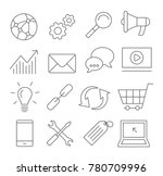 gray seo line icons on white... | Shutterstock . vector #780709996