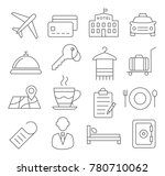 gray hotel line icons on white... | Shutterstock . vector #780710062