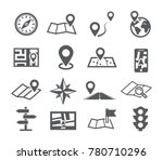 navigation and map icons with...   Shutterstock . vector #780710296