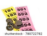 yellow and pink raffle tickets... | Shutterstock . vector #780722782
