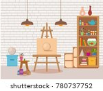 art studio interior colorful... | Shutterstock .eps vector #780737752