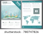 travel flyer design with famous ... | Shutterstock .eps vector #780747826