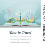 travel composition with famous... | Shutterstock .eps vector #780747832