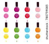 set of bright bottle nail...   Shutterstock .eps vector #780759085