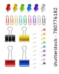 colored paper clips and pins... | Shutterstock .eps vector #780776182
