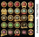 super sale golden retro badges... | Shutterstock .eps vector #780778282