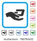 hand offer dash icon. flat grey ... | Shutterstock .eps vector #780782632