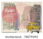 colorful panorama city vector ... | Shutterstock .eps vector #78079393