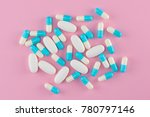 white tablets and capsules of... | Shutterstock . vector #780797146