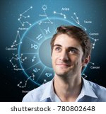 man think of a horoscope | Shutterstock . vector #780802648