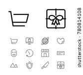 editable icons set with ticket  ...