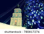 blurred view of christmas tree... | Shutterstock . vector #780817276