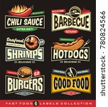 food restaurant labels and... | Shutterstock .eps vector #780824566