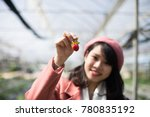 young asian girl in strawberry...   Shutterstock . vector #780835192