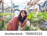 young asian girl in strawberry...   Shutterstock . vector #780835222