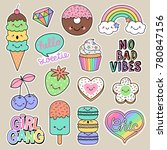 set of girl fashion patches ... | Shutterstock .eps vector #780847156