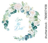 Stock photo watercolor floral illustration wreath with bright white vivid flowers green leaves for wedding 780857458