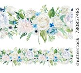 seamless watercolor floral... | Shutterstock . vector #780857482