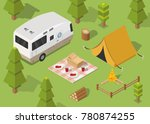 isometric camping and hiking... | Shutterstock .eps vector #780874255