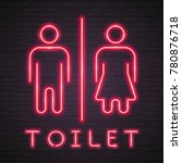 toilet wc sign icon neon light... | Shutterstock .eps vector #780876718
