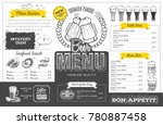 vintage beer menu design.... | Shutterstock .eps vector #780887458
