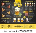 vintage chalk drawing beer menu ... | Shutterstock .eps vector #780887722