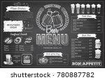 vintage chalk drawing beer menu ... | Shutterstock .eps vector #780887782