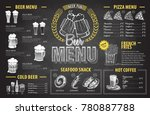 vintage chalk drawing beer menu ... | Shutterstock .eps vector #780887788