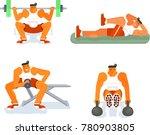 men does the press exercises on ... | Shutterstock .eps vector #780903805