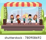 kids music band playing on... | Shutterstock .eps vector #780908692