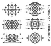 Grunge mexican aztec tribal traditional vector logo design isolated on white background. Aztec tribal traditional elements, navajo and african frame tattoo illustration | Shutterstock vector #780908746