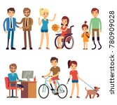 disabled young woman and man in ... | Shutterstock .eps vector #780909028