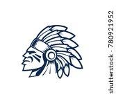 indian chief head logo. indian... | Shutterstock .eps vector #780921952