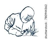 hand drawn logo welder black... | Shutterstock .eps vector #780944362