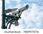Small photo of closed circuit camera to prevent the thief from stealing, Evening, preventive care is reduced, Installed outside the building,The capital of the country is set around.
