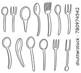 vector set of spoons and forks | Shutterstock .eps vector #780974542