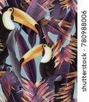 amazing tropical flowers patten.... | Shutterstock . vector #780988006