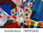 fabric of various types and... | Shutterstock . vector #780992602