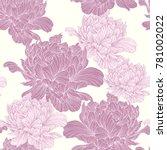 hand drawn linen peony flower ... | Shutterstock .eps vector #781002022