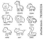 vector set of animals | Shutterstock .eps vector #781002226